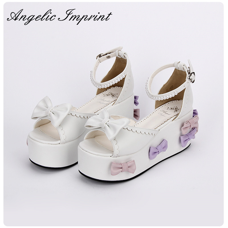 Japanese Sweet Lolita Cosplay Bows Wedge Sandals Pearl Ankle Strap Open Toe Princess Girls Sandals Summer Shoes lovely smilling kitty face faux wooden wedge lolita shoes ankle strap sweet pink girls shoes