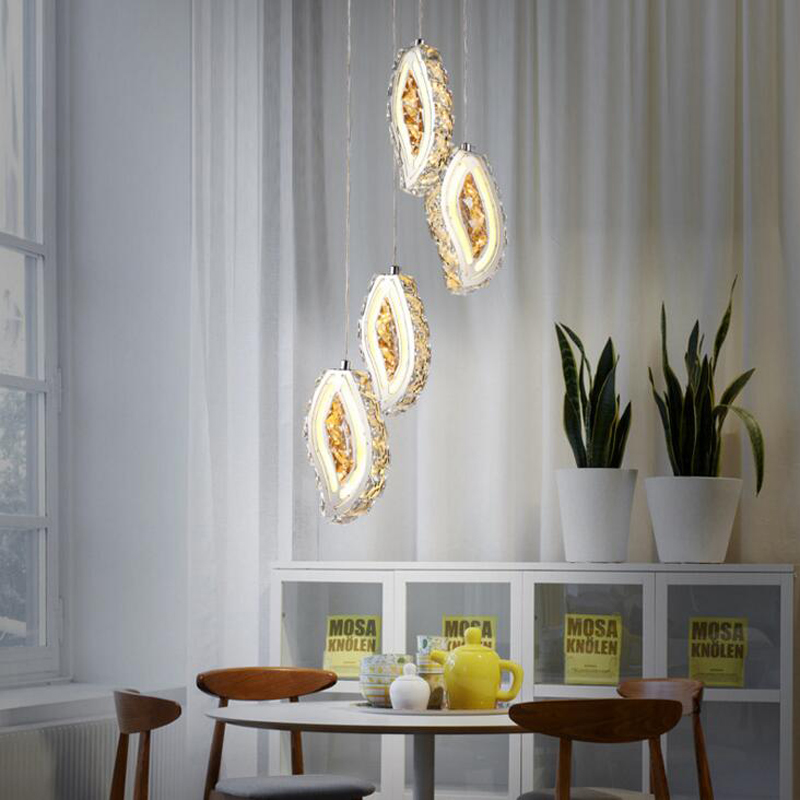 Modern chandelier Simple led crystal chandelier Table chandelier Crystal hanging lamp Creative restaurant study lamp led light led crystal chandelier lamp can be customized stainless steel restaurant