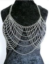 HOT SALE! Free Shipping Fashion B663 Women Silver Chains Unique Design Layers Bra Body Chains Jewelry 2 Colors