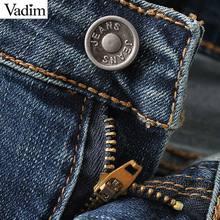 women vintage holes denim jeans