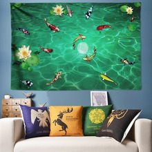 Clear Pond Lotus Flower Tapestry Wall Hanging Large Mandala Goldfish Surround Decoration Boho Hippie Tapestries Big 300