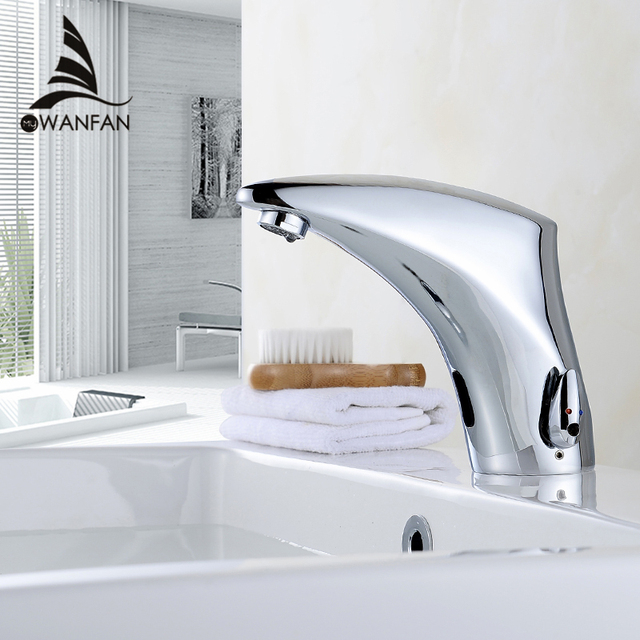 Bathroom Faucet Electric Automatic Sensor Faucet Touchless Kitchen Sink  Basin Battery Power Hot And Cold Water