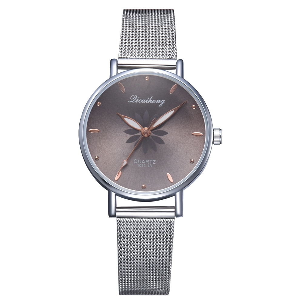 Watches For Women Luxury Silver Popular Pink Dial Flowers Metal Ladies Bracelet Quartz Clock Ladies Wrist Watch New Clock