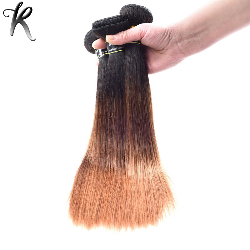 Ombre Peruvian Virgin Hair Straight 3Pcs Lot 1B/4/30# Three Tone Ombre Peruvian Straight Hair Bundles Human Hair Weave 12S321