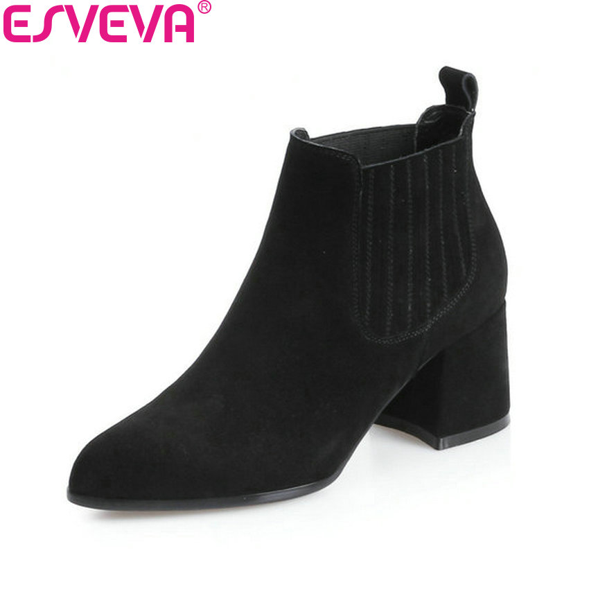 ESVEVA 2018 Women Boots Short Plush/PU Lining Elastic Band Pointed Toe Square High Heels Ankle Boots Ladies Shoes Size 34-39 esveva 2018 women boots zippers black short plush pu lining pointed toe square high heels ankle boots ladies shoes size 34 39