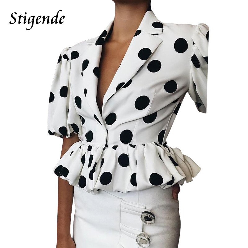 Stigende Polka Dot Turn Down Collar   Blouse     Shirt   Women Casual Summer Ruffled   Blouse   Top Ladies Half Sleeve White Crop Top   Shirt