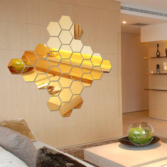 New arrival 9 Piece/lot Hexagon Acrylic 3d Wall Stickers Home Living ...