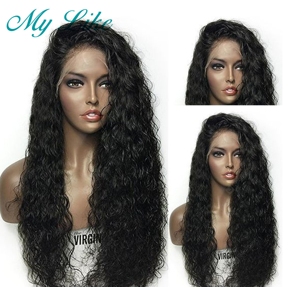Water Wave Full Lace Human Hair Wigs For Black Women Brazilian Remy Full Lace Front Wigs Pre Pluck Bleached Knots with Baby Hair(China)