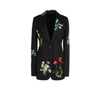 2016 Early Autumn Women S New Europe Embroidered Slim Black Outwear Jacket