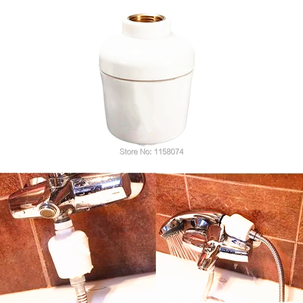 inline home hotel bathroom shower bath head filter water softener universal shower head rust