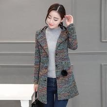 Осенняя и зимняя новая модная полосатая однобортная Длинная шерстяная Женская куртка с капюшоном тонкое шерстяное пальто TB190317
