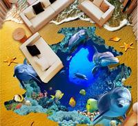 3D Flooring Beach ocean pvc Wallpaper Self adhesive Wallpaper For Walls 3D Floor Painting Background Decorative Painting