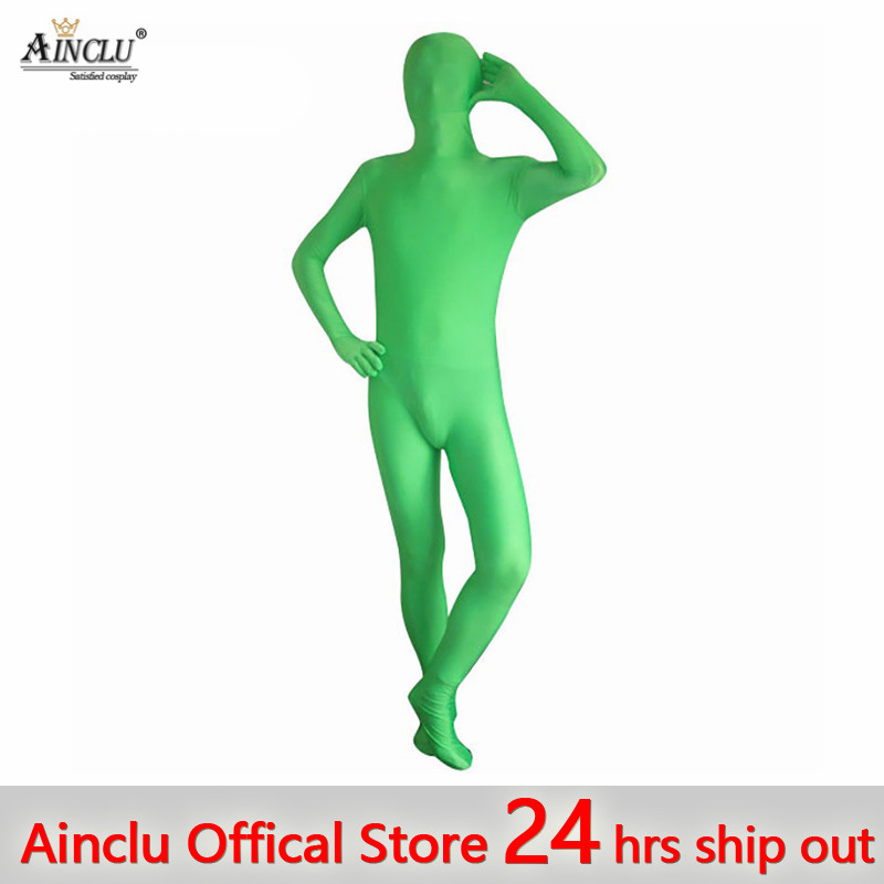 Ainclu 24 hours ship out New Halloween Green Full Body Spandex Zentai Suits Rush order/Same day shipping/24-hour ship