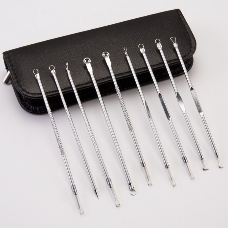 9pcs Stainless Steel Acne Extractor Removing Tool Face Skin Care Blackhead Pimple Remover Comedone Extract Ance Needle Kit