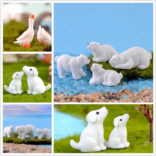 1PC White Bear Dogs Duck Resin Miniatures Animals Figurins Micro Landscape Decoration Bonsai Ornaments