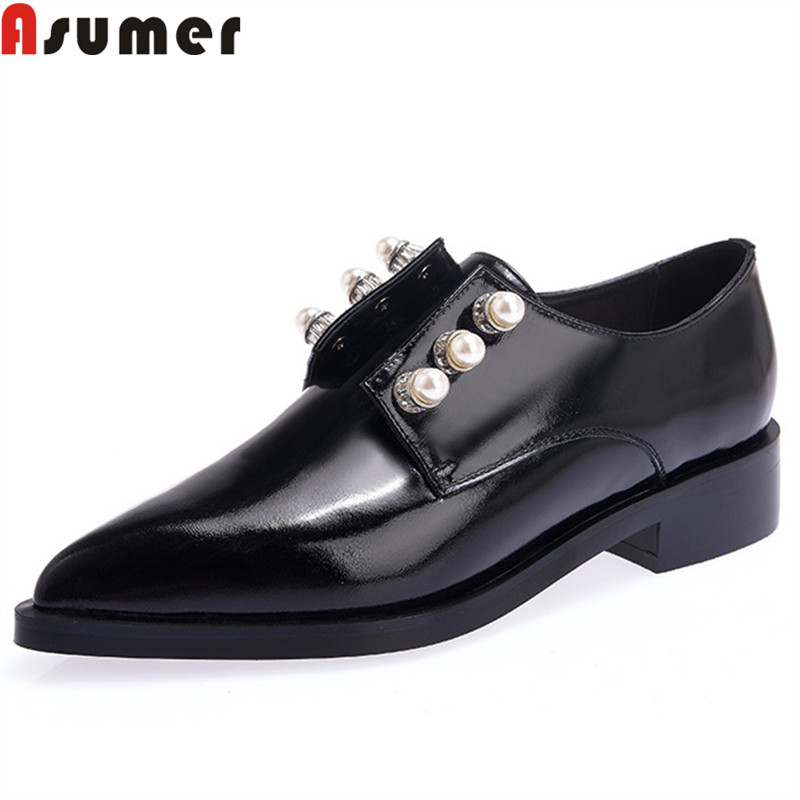 ASUMER black fashion spring autumn shoes woman pointed toe pumps women shoes low heel genuine leather shoes woman anmairon women pumps 2018 low heel spring court shoes woman pointed toe pumps med heels silver gold women black giltter shoes