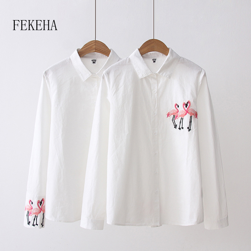 FEKEHA Flamingo Embroidery Women   Blouses     Shirt   2019 Autumn Cotton White Long Sleeve Casual Lady Tops Office   Shirt   High Quality