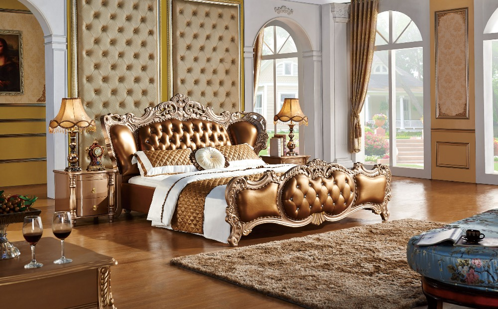 The Modern Designer Leather Soft Bed Large Double Bedroom Furniture American Style