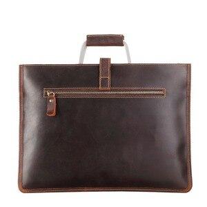 Image 5 - Haute qualité Vintage cheval fou en cuir Document sac mode Horizontal A4 hommes sac à main en cuir véritable mince mallette