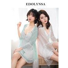 74698d3faecda Dentelle chemises de nuit chemises de nuit 2019 Robes ensemble Peignoir  ensembles Sexy chemise de nuit Robes de demoiselle d'hon.