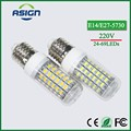 1Pcs Real Long Lifespan Health LED Corn Lamp E27 E14 220V 24 -69 LEDs Spotlight Bulb With SMART IC Driver Power Light CE