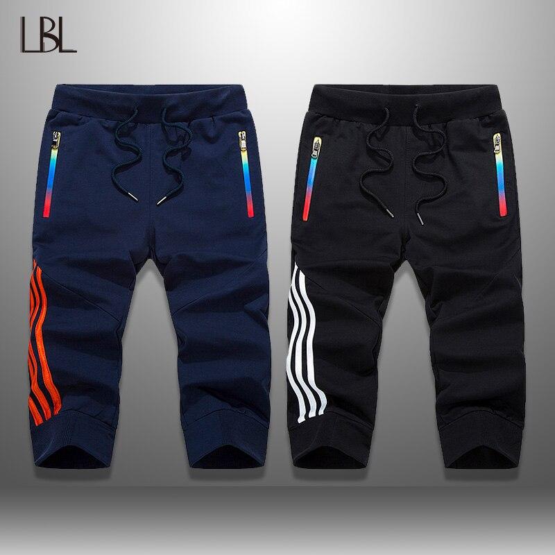 LBL Streetwear Shorts Men Summer Jogger Breathable Mens Shorts Sportswear Two Piece Short Pants Man Knee Length Boardshorts Man