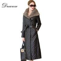 Dreawse зимняя куртка пуховик Для женщин Сплошной Цвет длинное Mujer из искусственной кожи плюс Размеры 5XL тонкий теплое пальто с капюшоном с пояс
