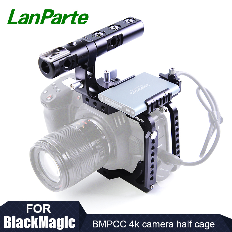 Lanparte BMPCC 4K Camera Half Cage with SSD T5 Clamp for Samsung for Blackmagic Design Pocket