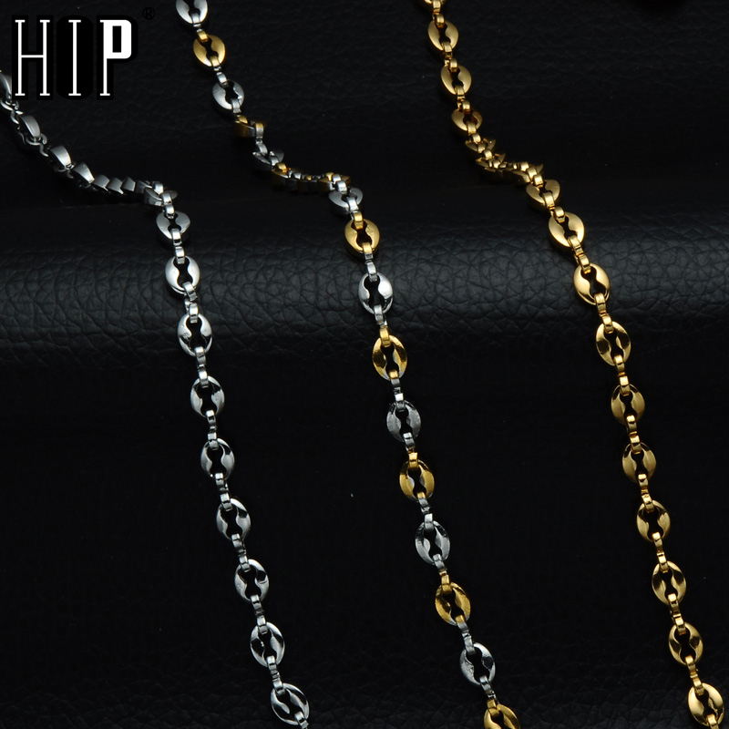 HIP Hop 50CM Long Stainless Steel Round Bead Chain Necklaces