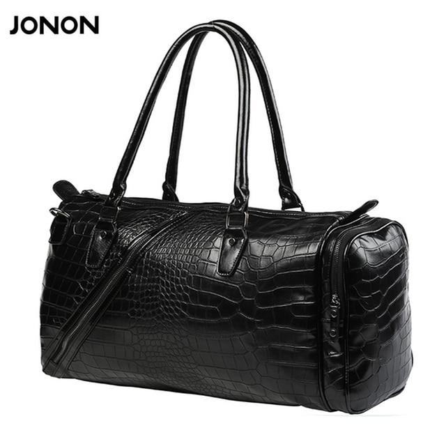 ... designer mens leather Source · Jonon Vintage Crocodile Pattern Duffle  Bags Men s Weekend Travel Bag 746f95759e38a