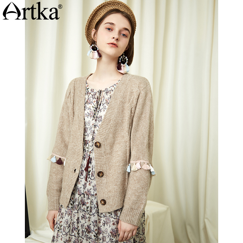 ARTKA 2018 Autumn Winter Women New Misty Beige Loose Vintage Single Breasted Stitching Tassel Sleeve Cardigan