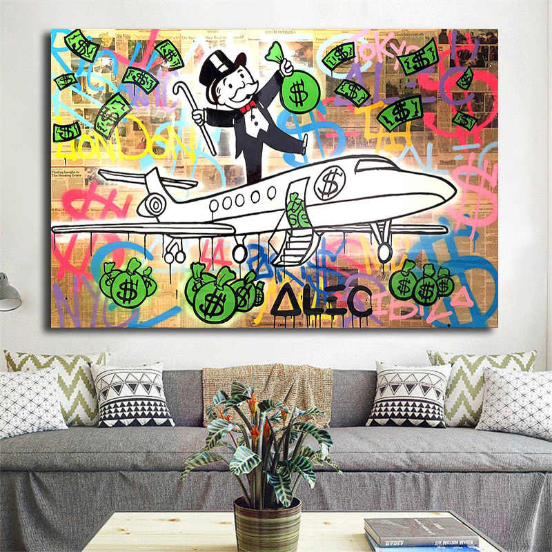 Alec Monopolies PJ Fly HD Wall Art Canvas Poster And Print Canvas Painting Decorative Picture For Office Living Room Home Decor