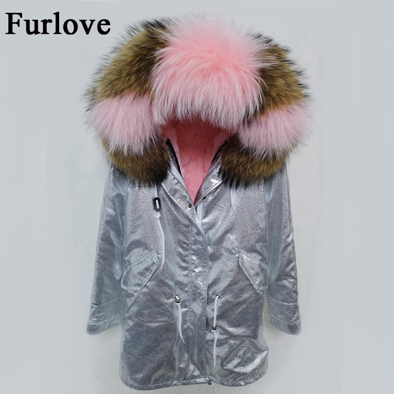 Long parka winter jacket women 2017 coats natural raccoon fur collar hooded real rabbit fur coat thick warm silver casual parkas