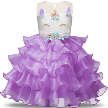 Unicorn Dress For Girls Clothing Embroidery Party Kids Dresses Wedding Child Costume Holloween Tutu Gowns