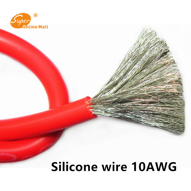 1m 3ft <font><b>10AWG</b></font> Flexible <font><b>Silicone</b></font> <font><b>Wire</b></font> RC 1050/0.08TS Model Airplane <font><b>Wire</b></font> Electrical <font><b>Wires</b></font> OD 5.5mm 5.3mm square image