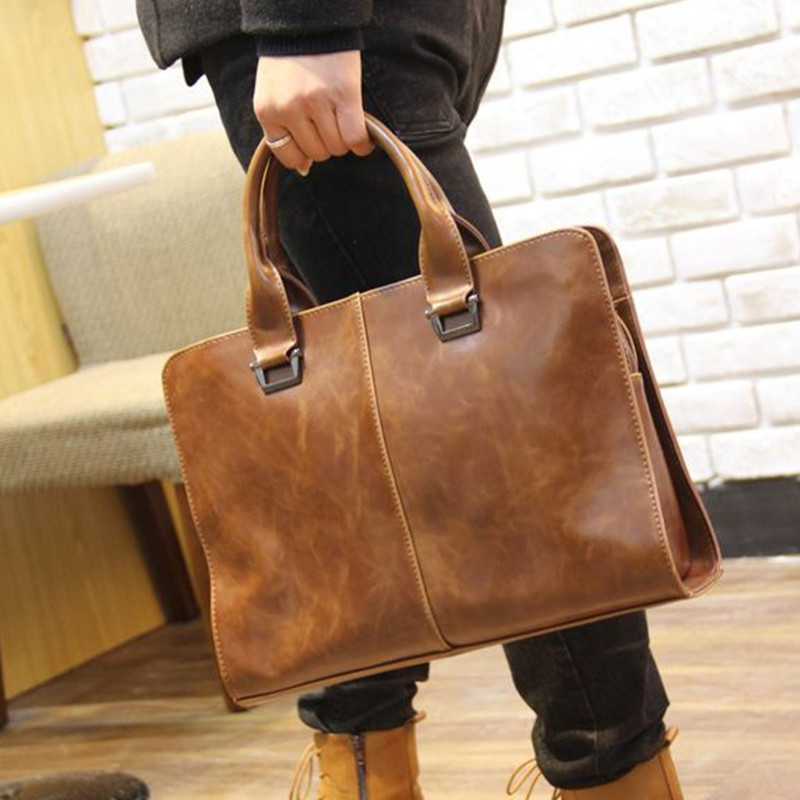 ФОТО Hot Sale! New Fashion men's Vintage leather Business bags male laptop bags men's travel bags leather briefcase