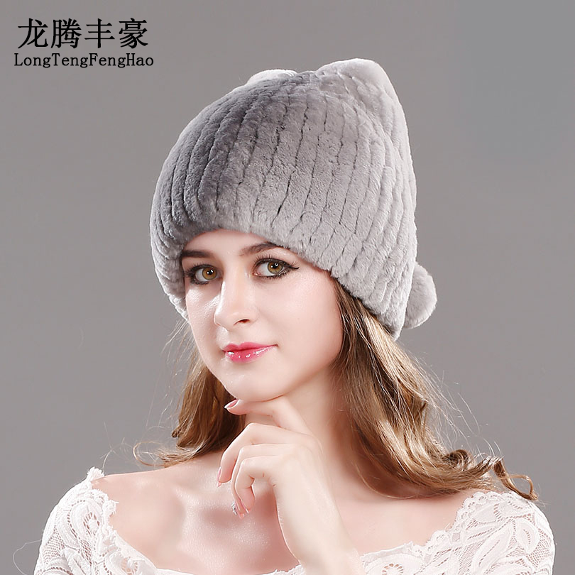 Lady Hats Knitting Wool Beanies Female Caps Casual Thicking Hats Women Caps Warm For Winter Rabbit Fur Russian Hat Cap For Women