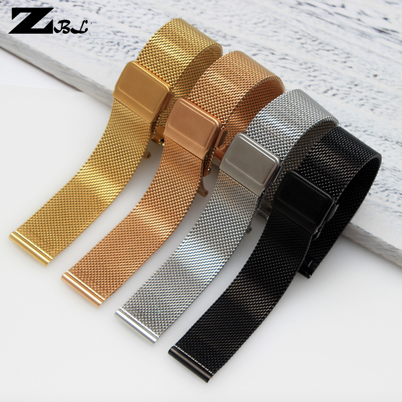 Thin Stainless Steel milan Mesh Strap watch Bracelets upgrade metal Watchband fold buckle Easy to use 18 20mm rose gold uyoung amazfit smart leather watch strap watch strap milan nice ceramic steel watchband