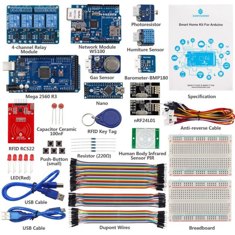 SunFounder Smart Home IoT Internet Of Things Starter Kit V2.0 For Arduino DIY Project Sensor Modules For Intelligent Living Home