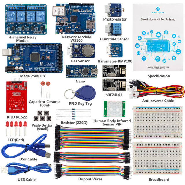 sunfounder iot internet de las cosas de casa inteligente starter kit v para arduino