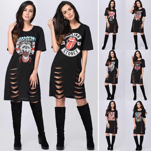 Women Sexy O,Neck Dress Print Punk Rock N Roll Hollow out T Shirt Dress  Short Sleeve Casual Loose Black Summer Mini Dress 2017