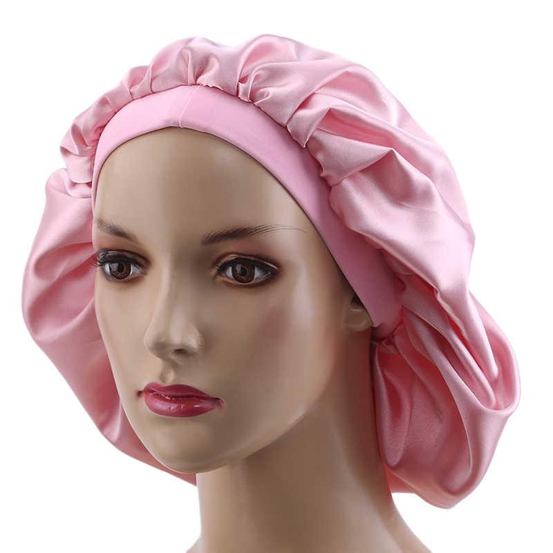 Luxury Stock Virgin hair Wide band sleeping bonnet, women Human Hair extensions wigs hair protect silk satin round bonnet cap