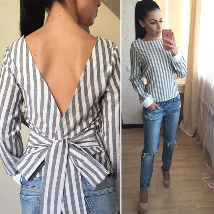 95d1ecfd1d98c Backless 2018 Plus Size Sexy Striped Open Back Deep V Tops Long Sleeved  Bandage Shirt for Women Ladies Autumn Clothes LX008-in Blouses   Shirts  from Women s ...