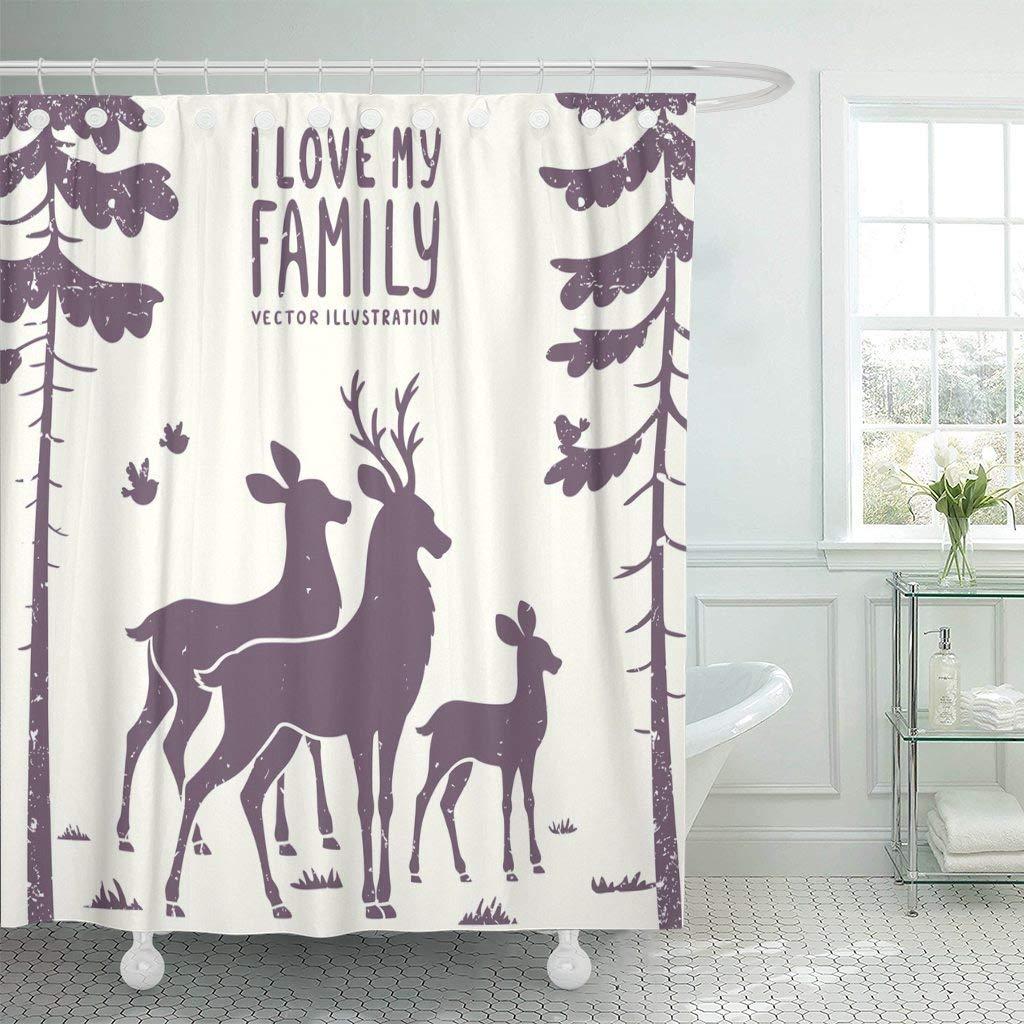 Shower Curtain With Hooks Cute Silhouette Of Beautiful Family Deer In Pine Forest Love Reindeer Animal Antler Doe Bathroom