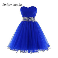 Short Prom Dresses Party Homecoming Dress For Women Juniors Sweetheart Crystals Ball Gown Tulle Mini Vestidos De Festa Longo 277