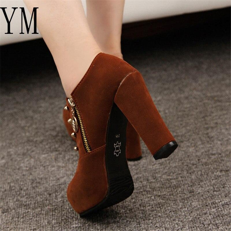 Plate Talon forme Pompes Femmes Haut Botas Haute 5 Talons Chaussures Noir marron D'été 10 Cm B Cheville Casual Nouveau Bottes YvP7P