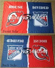 New Jersey Devils de Nueva York Rangers Casa Dividida 3ft Bandera x 5ft Poliéster Banner Flying Tamaño No.4144 NHL 4 144*96 cm Bandera QingQing