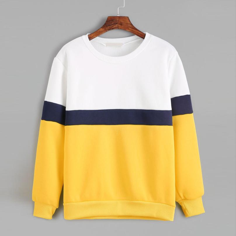 Womens Tops and Blouses Yellow Color Block Long Sleeve Harajuku Sweatshirts Tumblr Women Clothing Moleton Feminino Inverno in Blouses amp Shirts from Women 39 s Clothing
