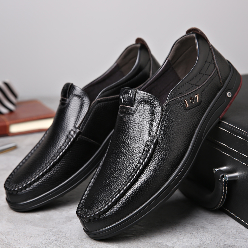 OSCO Men Shoes Genuine leather Comfortable Men Casual Shoes Business Chaussures Flats For Men Slip On