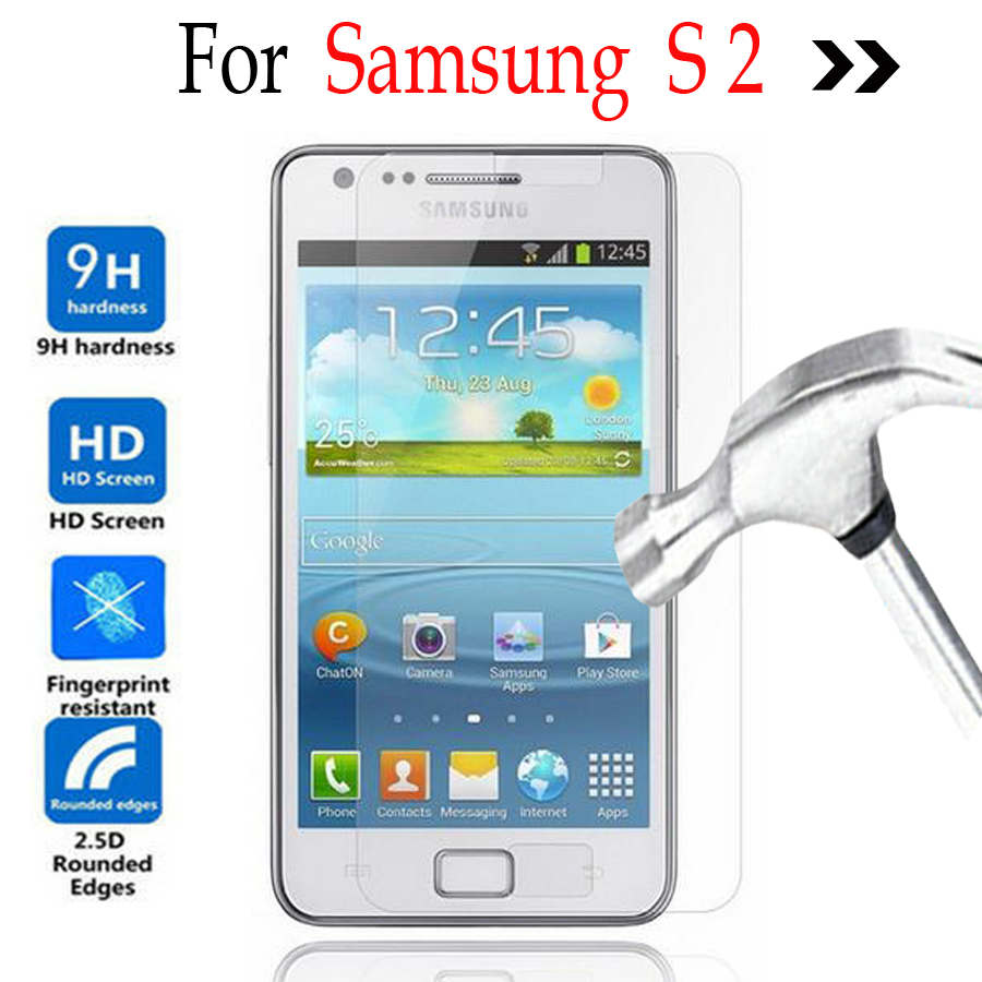 For Samsung Galaxy S2 S II SII Tempered glass Screen Protector Cover On Samsung Galaxy S 2 i9100 I9105 Protective Film 2.5D 9H